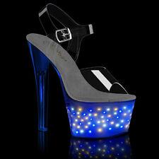 """PLEASER ECHOLITE-708 7"""" Heel Chargeable Led Light Up Ankle Strap Platform Shoes"""