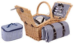 Picknickkorb 4 Personen Picknick Picknickkoffer Camping Besteck Kühltasche Decke