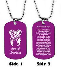 DOG TAG NECKLACE - Dental Assistants Prayer Medical Dentist Jesus God Teeth