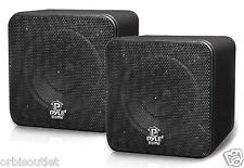 PYLE 4''200 Watt Black Small Compact Cube Home Cinema HiFi Speaker Install PAIR