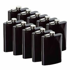 8oz Black Hip Flask (QTY 10) (Stainless steel) Groomsman wedding gift