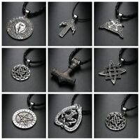 Silver Alloy Norse Vikings Myth Necklace Wolf Rune Amulet Pendant Leather Rope