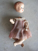 """Vintage 1930s Composition Sitting Position Baby Girl Doll Original Outfit 7"""" T"""