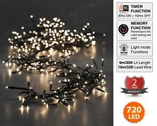 Christmas Lights 720 LED 9m Warm White Outdoor Cluster Tree String Indoor Fairy