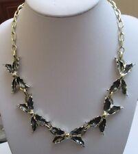parure bijou vintage collier boucles d'oreilles clips feuille noeud papillon 112