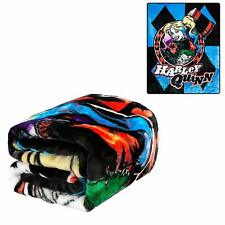 DC Comics Harley Quinn Blue Diamonds and Joker Twin Size Plush Throw Blanket