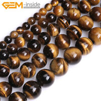 """Natural Tiger's Eye Gemstone Round Loose Spacer Beads For Jewellery Making 15""""UK"""