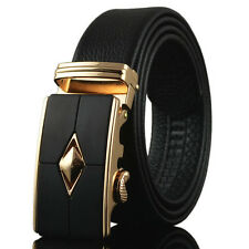 Men's Gold Silver Triangle Automatic Buckle Waist Strap Leather Belts Wristband