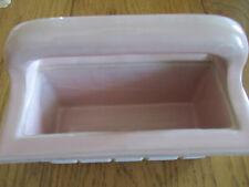 Antique 1930's pale pink Italian Ceramic Tile Soap Dish Holder Recessed Grab Bar