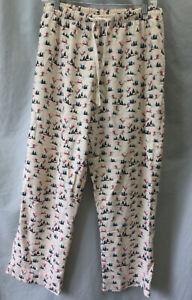 L.L. Bean Sz. Medium Flannel Pajama Lounge Pants, Ivory W/ Trees & Skiers