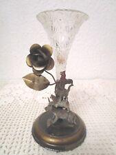 Art Deco Metall Skulptur Bremer Stadtmusikanten mit Glas Einsteck-Vase (F121)A