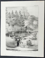 1842 William Mather Antique Geology Print Entrance to Howes Cavern Cobleskill NY
