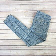 FREE PEOPLE Women's Jeans Sz 27 Skinny Slim Capri Multi Color Geometric Print