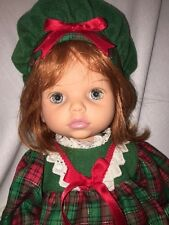 PLAYMATES TOYS Baby So Beautiful 1995 Doll Red Hair BLUE Eyes Christmas Dress