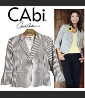 CAbi Nautical Ticking Striped Bell Sleeve Jacket Blazer Style 793 Size 0