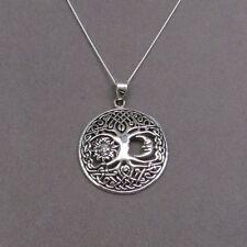 "Sterling Silver tree of life pendant moon & sun 925 hallmark 18""  Italian chain"