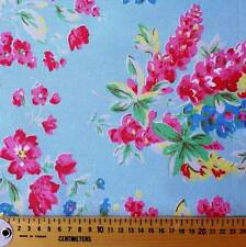 pink flower floral on blue canvas cotton vintage look fabric 1/2 YARD