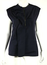 LANVIN Hiver 2009 Navy Blue Poly Techno Ruffle Sleeveless Top 44