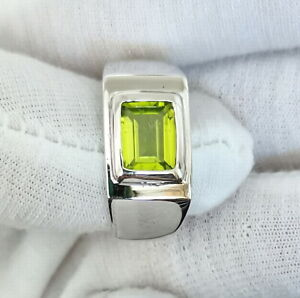 Natural Green Peridot Silver Men Ring Emerald Cut Gemstone Size 11 Birthday Gift