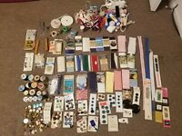 HUGE LOT OF SEWING NOTIONS snaps binding elastic tools thread ribbon zippers etc