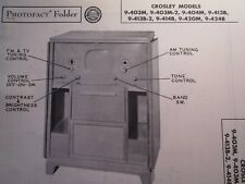 Crosley 9-403M, 9-403M-2, 9-404M, 9-413B, 9-413B-2, 9-414B Television Photofact