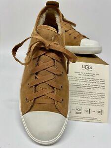 UGG KAMERON 3140 Kid's Fur Lined Chestnut Brown Suede Trainers - UK 3 / USA 4
