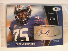 Eugene Monroe 2008 Sage Hit Autographed Rookie Card Virginia Cavaliers NFL #A3