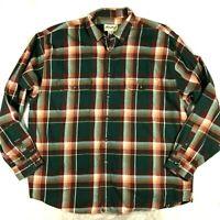 Eddie Bauer Mens Regular XL Plaid Flannel Button Front Shirt Green Brown Rust