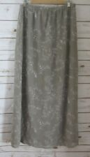 NEW CAROLE LITTLE Womens 16 Gray Floral 100% Silk Maxi Skirt Lined Go With Flow