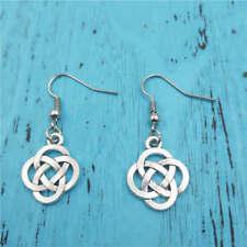 Chinese knot earrings,Silver handmade ear stud,Fashion charm jewelry pendants
