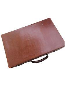 Valise vintage en véritable cuir marron Années 1950 état moyen