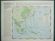 WW2 WWII MAP ~ JAPANESE MERCHANT SHIPPING ROUTES 1941-45 OCCUPATION OPERATION
