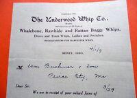 04-01-1909 UNDERWOOD WHIP COMPANY Established 1864 SIDNEY OHIO Bill Head