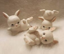 Home Interiors White/Pink/Black/Blue Bunny Rabbits Set of 3