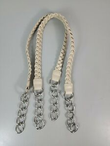 """Miche Cream Braided Fashion Handles-24"""" Long- With Carabiners Silver"""