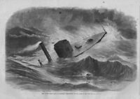 NAUTICAL CIVIL WAR UNITED STATES IRON-CLAD MONITOR WEEHAWKEN IN THE STORM WAVES