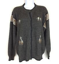 Alpaca Cardigan Sweater Unbranded Size L XL Charcoal Gray Llama Children
