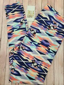 NEW LuLaRoe TC Disney Leggings Vintage Minnie Mouse Pastel Geometric Stripes