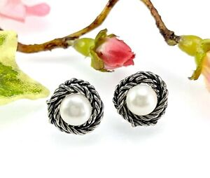 Paz Creations / Or Paz Sterling Silver Pearl Convertible Earrings - Wear 2 Ways