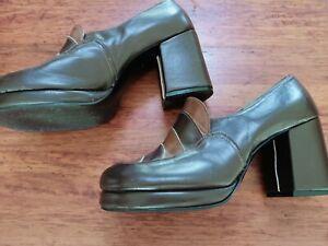 Original Vintage 1970's Leather Platform Shoes Jak Brand Sharpie look