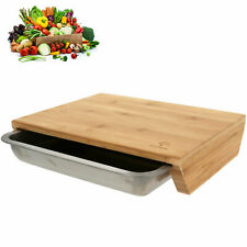 XL Schneidbrett mit Auffangschale Bambus Gemüseschneider Schneidebretter Holz