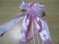 Kommunion,Taufe,Tropfschutz,Kerzenschleife,Kerzenschmuck,Geburt,Baby,Kreuz rosa
