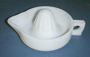 Vintage White Milk Glass SUNKIST Citrus Reamer / Juicer with Pour Spout & Handle
