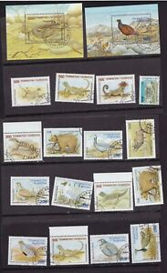 Lot of 36 Used Stamps from Tajikistan 1995 Native Lizards Birds Animals 2 pics