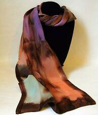 Hand Painted Silk Scarf Green Peach Orange Purple Oblong Hair Head Neck Gift