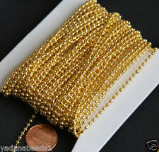 32ft spool Gold Plated 2.4mm Smooth Ball Chain