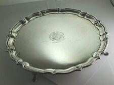"Superb Vintage 1934 Heavy Solid Silver ""Pie Crust"" Salver Tray 1935"" [CS113]"