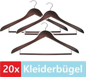 20 Kleiderbügel Holz Braun Hosensteg Anzug Garderoben Sakko Rock Blusen Bügel