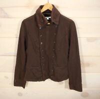 CAbi Womens Sz S Sweatshirt Brown Military Jacket Double Button Front Cotton CL