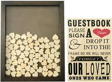 Sl Crafts Wedding Book Alternative Guest Drop Top Wooden Frame w/Hearts & Sign